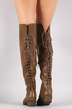 New Womens Almond Shape Toe Back Lace Up Low Flat Heel Over The Knee Riding Boot