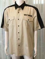 Harley Davidson Garage Mechanic button front shirt tan black embroidered XL logo