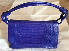 NANCY GONZALES EXOTIC CROCODILE FLAP SHOULDER BAG COBALT BLUE NWT $3500 SAKS 5TH