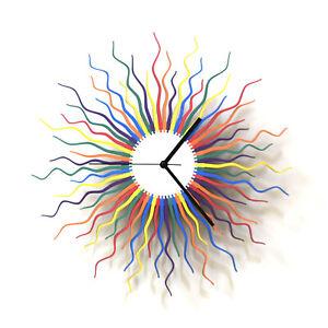 Medusa rainbow - organic multicolor wall clock made of laser cut wood by ardeola