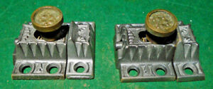 TWO  MATCHING VINTAGE EASTLAKE CABINET LATCHES w/ KEEPERS   (7761-A)