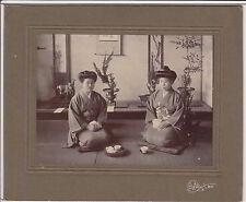 1910 JAPAN ANTIQUE ORIGINAL PHOTO Japanese Two Women in Kimono old asian vtg e29