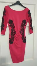 Lipsy Bodycon Dress - Pink with Black Lace detail - Size UK 8