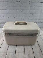Vintage White Samsonite Makeup Train Case Carry On Luggage