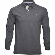 GANT Long-Sleeve Contrast Collar Pique Rugger Men's Polo Shirt, Anthracite