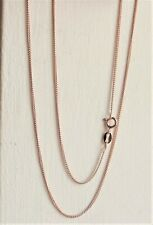 """18 CARAT ROSE GOLD PLATED STERLING SILVER CURB NECKLACE CHAIN 46cm / 18"""" NEW QVC"""