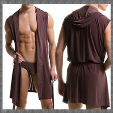 Men Bath Robe A Sleeveless Silk Robe for Mens Hooded Robe Ultrathin Leisure Wear