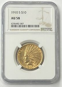 1910-S $10 Indian Head Pre-33 Gold Eagle NGC AU58 New NGC Holder - Beautiful!