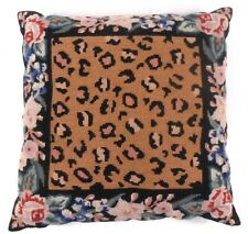Handmade Wool Needlepoint Petit Point Leopard & Floral Animal Print Pillow Cover