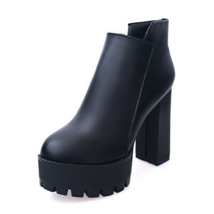 Womens PU Leather Ankle Boots High Heel Platform Shoes Casual Booties Side Zip S