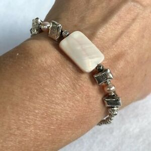 """Sterling Silver 925 Beaded bracelet Pink Faux Mother Of Pearl Bead 7"""" 13.28g"""