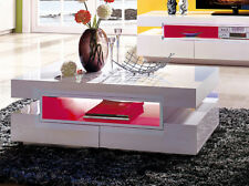 White Gloss Coffee table wood with LED lights modern for Living Room rectangle