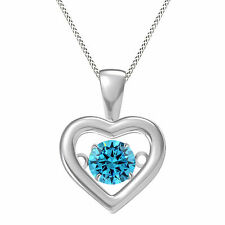 Aquamarine Solitaire Dancing Heart Pendant 14k White Gold Over Sterling Silver