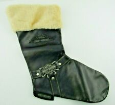 Vintage 1997 Harley-Davidson Christmas Stocking Boot Faux Leather/Fur
