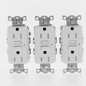 3-Pack Hubbell White Self-Test Tamper Resistant GFCI Outlets 5-15R 15A GFT15W3Z