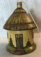 Antique/ Wooden String Holder - Hut/House Shaped -Hand Made signed SL