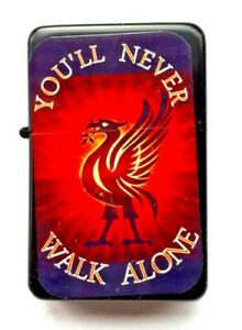 YOU'LL NEVER WALK ALONE. Liverbird anthem    Petrol Lighter in  black pouch.