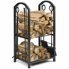 Firewood Carrier Heavy Duty Metal Aboniris Fireplace Log Holder Basket All Black