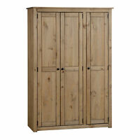 Panama 3 Door Wardrobe Natural Wax Solid Pine Bedroom Mexican Contemporary