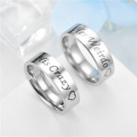 Stainless Steel Couples Ring Promise Love Ring Engagement Wedding Band Jewelry
