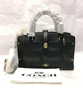 Coach 37779 Grain Leather Mercer 24 Satchel Bag 2-Way Purse BLACK Gold NWT