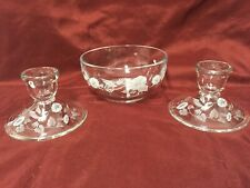 Avon Hummingbird Bowl and Candle Holders by Fostoria Glass Co.