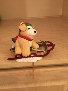 Hallmark Christmas Stocking Holder Nikki Sledding Dog With Box Puppy Winter Snow