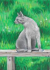 ACEO PRINT OF PAINTING RYTA GRAY TABBY CAT FELINE SUMMER PORTRAIT REALISM ART HP