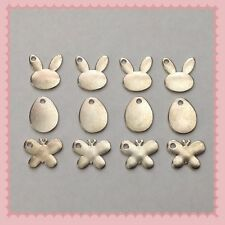 12 Silvertone Easter Egg Bunny Butterfly Charms Jewelry DIY Earrings Bracelet E5
