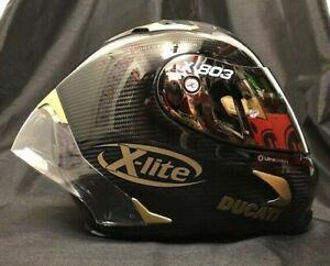 X-Lite X803RS Carbon FREE GOLD EDITION Visor & Ducati Stickers Motorbike Helmet