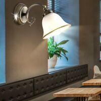 LED Landhaus Stil ALU Decken Lampe Messing Antik Flur Leuchte Glas Blumen Dekor