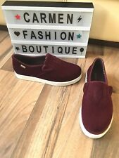 AUTHENTIC MELISSA 'DUELLE' BURGUNDY FLAT SKATER SHOES SLIP ON  UK 4 EU 37 US 6!