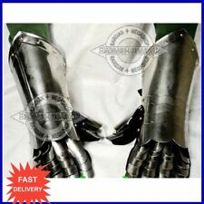 FULLY WEARABLE GAUNTLETS GLOVES MADE OF SOLID STEEL GREAT FOR LARP AND RE- ENACT