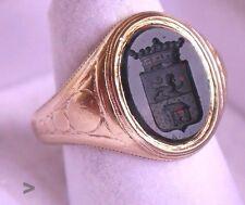 Antique Men Signet  Intaglio Ring solid 18K Gold Heliotrop Ø US8.25 /8.4g
