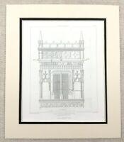 1874 Antico Stampa Francese Chateau Fontaine Le Henri Architettura Dettagli
