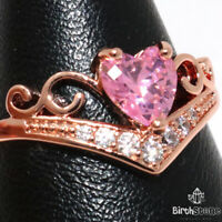 Gorgeous Heart Pink Sapphire Ring Women Wedding Jewelry Rose Gold Plated