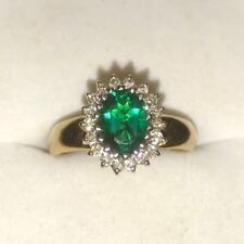 14ct/14k Yellow & White Gold Emerald/Diamond Cluster Ring