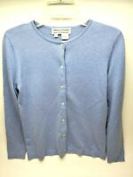 Saks Fifth Avenue Womens Cardigan Size Medium  Blue Silk Cashmere Real Clothes