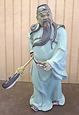 "Chinese Porcelain Kwan Kung Warrior Statue Figure 12""h"