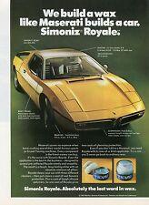 1973 Simoniz Royale Car Wax Print Ad w/ Maserati Bora V8 5 Speed