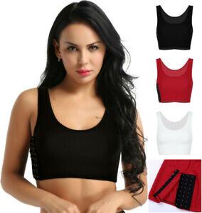 Women Buckle Short Chest Breast Binder Sport Bra Top Flat Slim Vest Undershirt