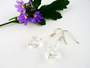 1 Paar Ohrhänger mit gravierten Perlen aus Bergkristall 925-Silber