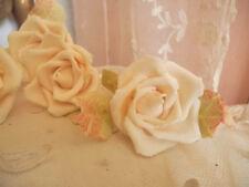Set of 5 Vintage Cold Porcelain Roses~Bridal Wedding~Cake~Romantic Decor