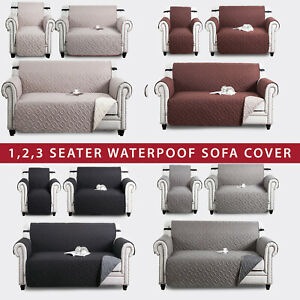Quilted Sofa Cover Waterproof Dog Pet Furniture Protector Throw Reversible Cover