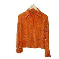 Paul Ropp 100% Silk Vintage Orange Leaf Embroidered Button Up Blouse, Medium