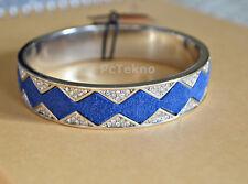 House of Harlow Silver tone Pave Suede Cobalt Blue Sunburst Bangle Bracelet NWT