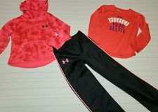 Girls Size 4 / 5 Under Armour Hooded Hoodie Sweat shirt  Top Pants Lot of 3