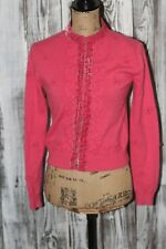 Cabi Coral Pink Sweater S Angora Wool Bead Embroidered Velvet Cardigan #342 G342