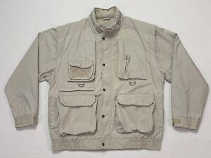 VTG Cabelas Men's Medium M Beige Hooded Hunting Fishing Jacket Zip Off Sleeves