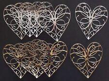 Paquete De 10 oro y plata Lacey corazones para elaboración de tarjetas o scrapbooking